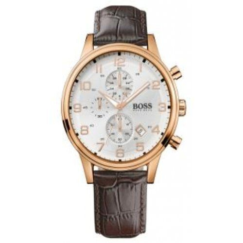 Hugo Boss 1512519 White Dial Chronograph Date Leather Strap Men's Watch Hugo Boss. $297.50. Gold Tone Case. Brown Leather Strap. Date Display. White Dial. Chronograph. Save 15% Off!