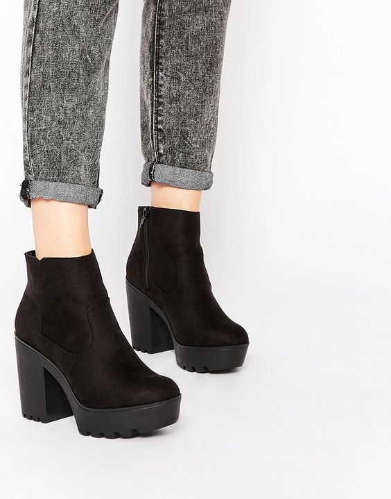 Available in Size 9 from ASOS.] New Look Chunky Ankle Boot - black ...