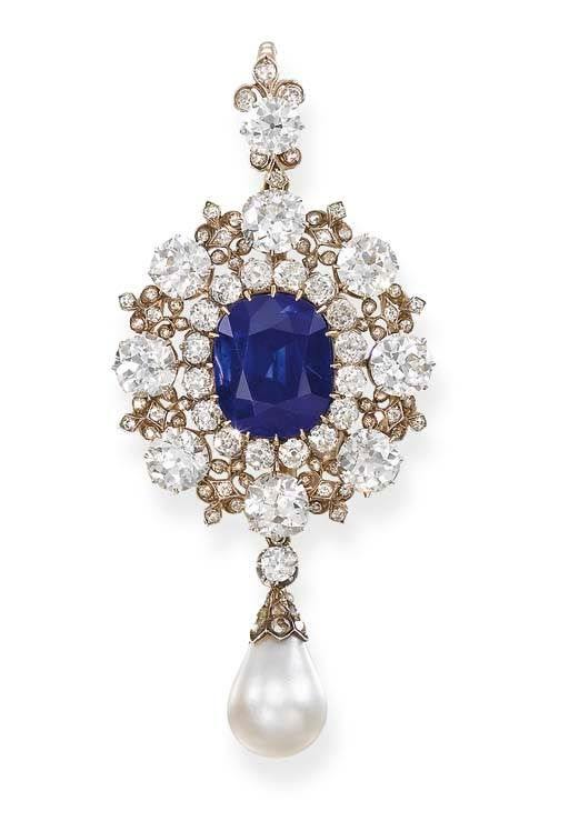 A Sapphire Diamond And Pearl Brooch Circa 1885 Formerly In The Collection Of Lady Helen Hermione Blackwood 1865 1 Beautiful Jewelry Jewelry Antique Jewelry