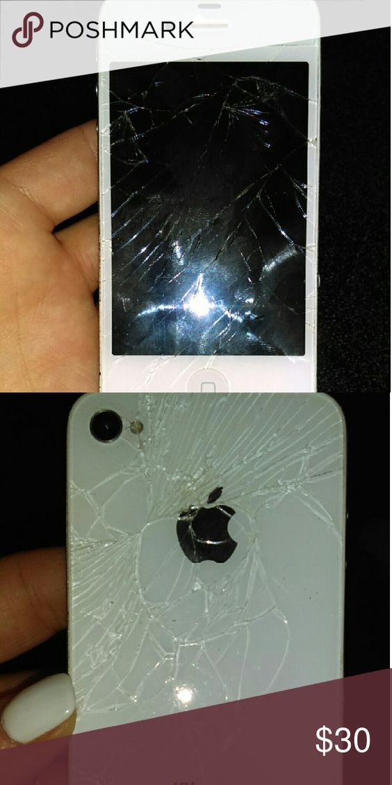 IPhone 4 white Boost Works great. Front & back glass cracked. Boost is prepaid monthly no contract. iPhone  Other