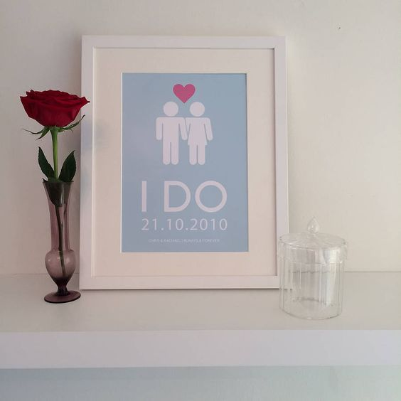 'i do' personalised wedding wall art by parkins interiors | notonthehighstreet.com