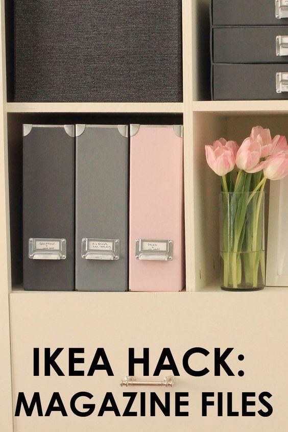 IKEA Hack: Magazine Files Pretty office decor, pretty office storage, beautiful office, home organization