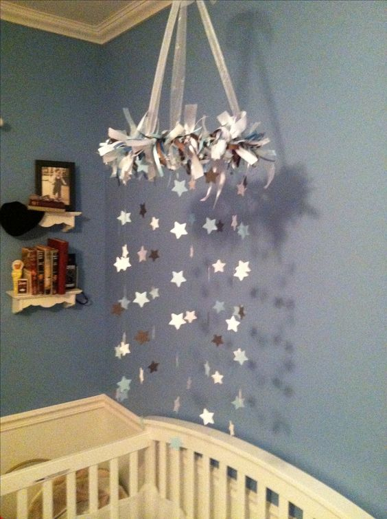blue gray and white baby boy nursery star mobile easy diy baby mobile