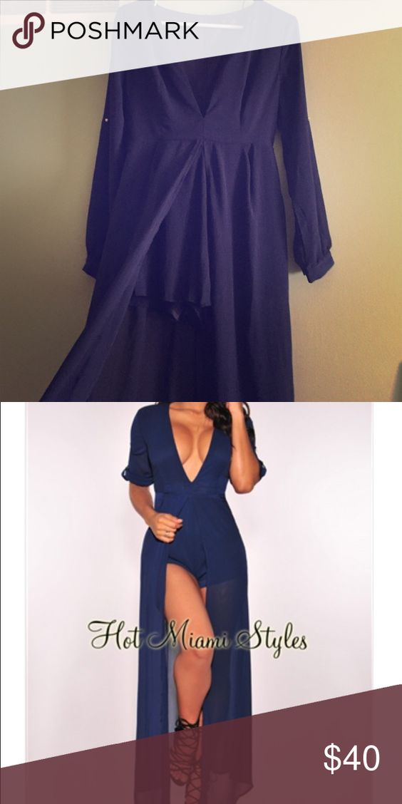 Blue v neck romper worn once! Dresses
