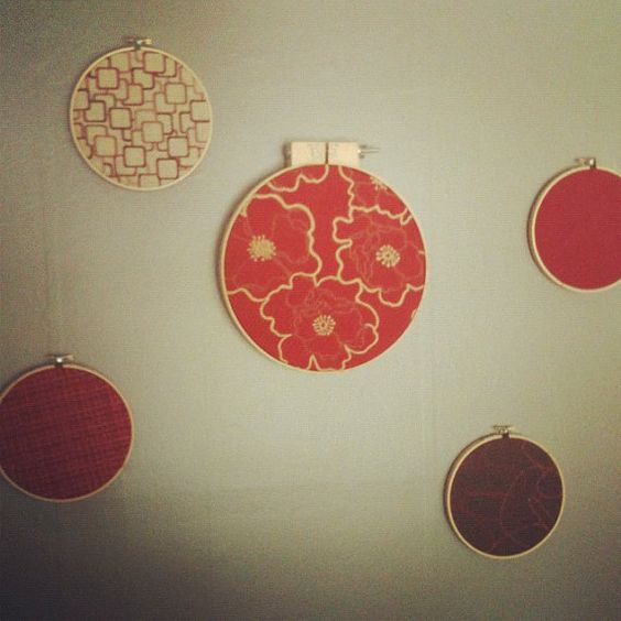 retro fabric wall decor in embroidery hoop rings by therobynnest, $15.00