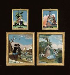 A GROUP OF FOUR ENGLISH REVERSE-GLASS PAINTED PICTURES,http://www.christies.com/  LATE 19TH CENTURY,