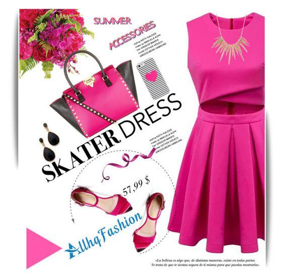 """Summer Style: Cutout Skater Dress"" by svijetlana ❤ liked on Polyvore"
