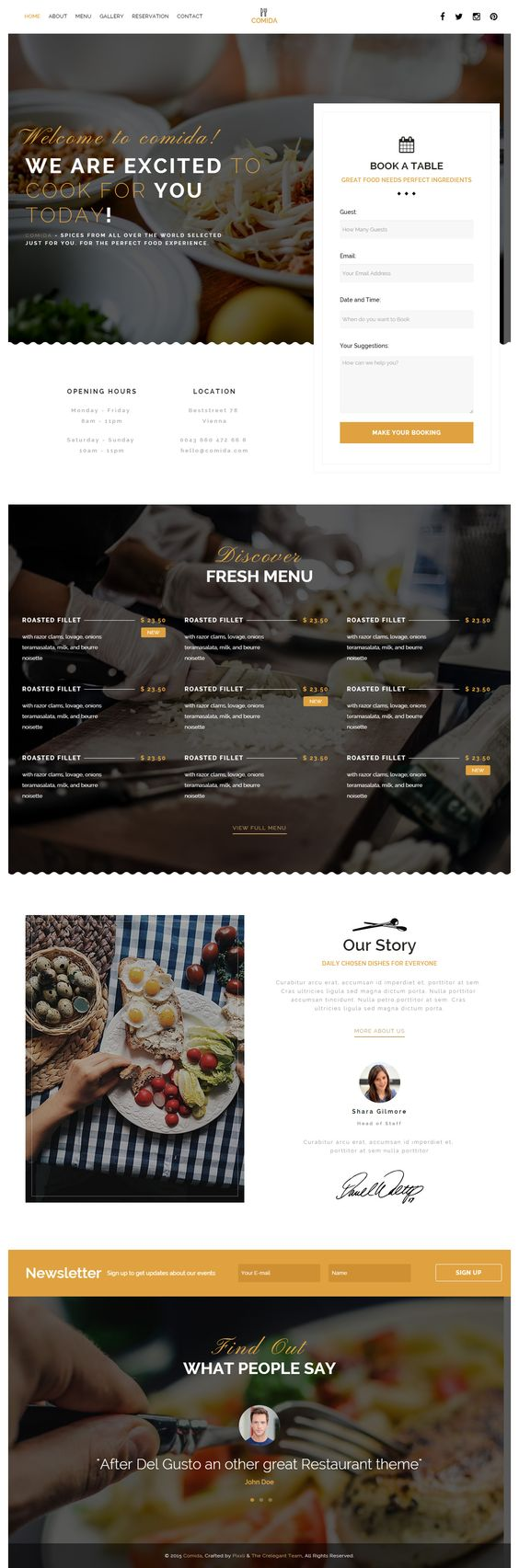 Comida is Premium full Responsive Retina #Restaurant #HTML5 template. #ParallaxScrolling. Bootstrap 3 Framework. Google Map. Test free demo at: http://www.responsivemiracle.com/cms/comida-premium-responsive-restaurant-html5-template/