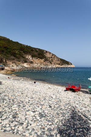 Stock photo: beach, beautiful, blue, Capo Nord, coast, coastline, Elba, Elba Island, island, journey, marciana, Marciana Marina, outdoor, parasol, relax, relaxation, resort, sea, seashore, stone, stones, summer, sun, sunlight, touristic, umbrella, vacation, view, water, white  From $2.50
