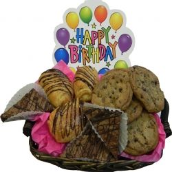 Celebrate life's most delicious moments with our DELI chocolate basket filled with six chocolate double choco chip cookies, two double fudge brownies, two chocolate croissants. www.delibaking.com