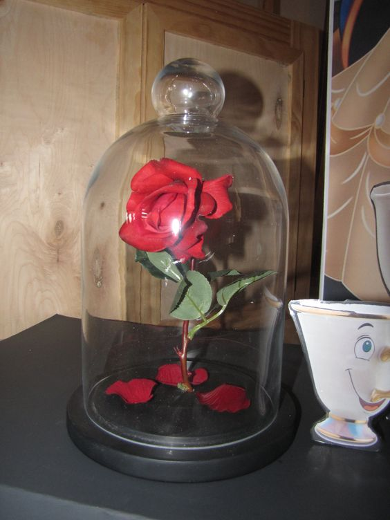 enchanted rose glass dome realistic rose and rose petals from hobby lobby drilled an angled. Black Bedroom Furniture Sets. Home Design Ideas