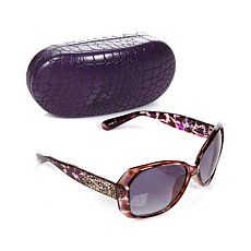 Carol Brodie Squared Sunglasses with Evil Eye Design