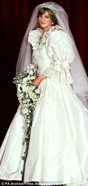 Diana wedding gown , 1981. Such a hopeful expression. The puffy sleeved wedding dress setting a trend during the time.