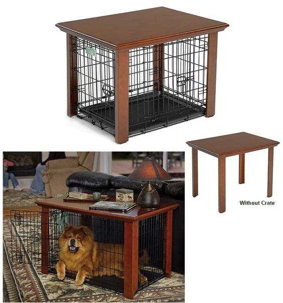 Table for dog crate pets pinterest for dogs for Cheap dog crate furniture