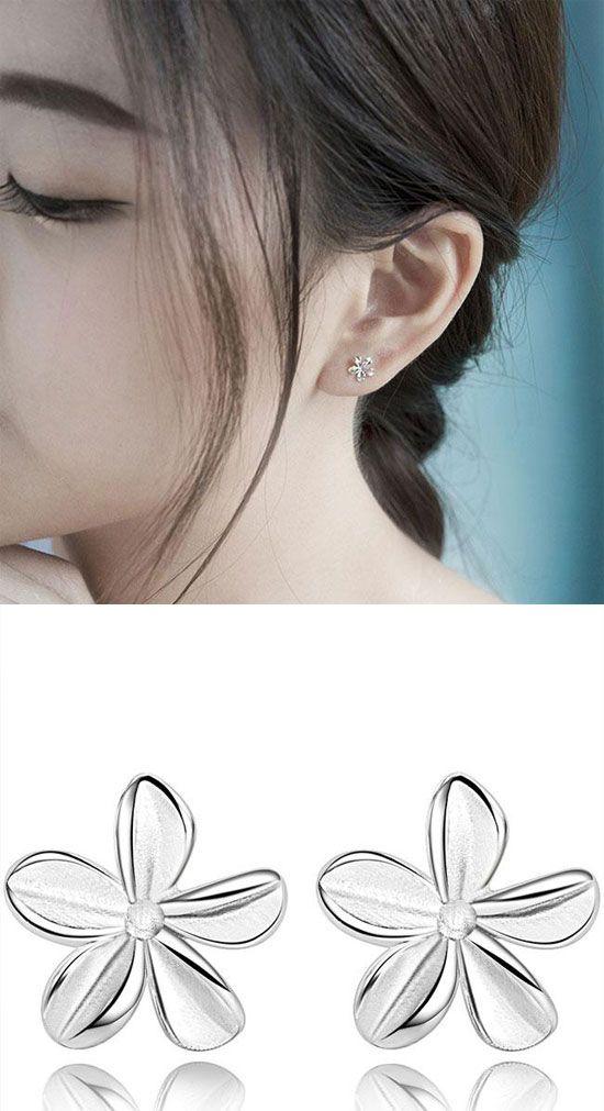 Cute Pure Flower Silver Women Earrings Studs