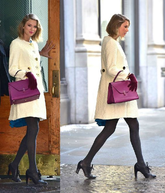 Celebrity Style: Taylor Swift in cream coat and over-size gold buttons, and a pair of purple gloves to match her very elegant handbag.