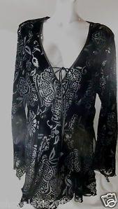 Fredrick's of Hollywood Black Sheer with Velvet Flowers Sexy Slit Shirt SZ L