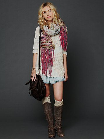 I wish I could pull this off (and afford it)... a sweater over one of Free People's slips. Looks great for fall.