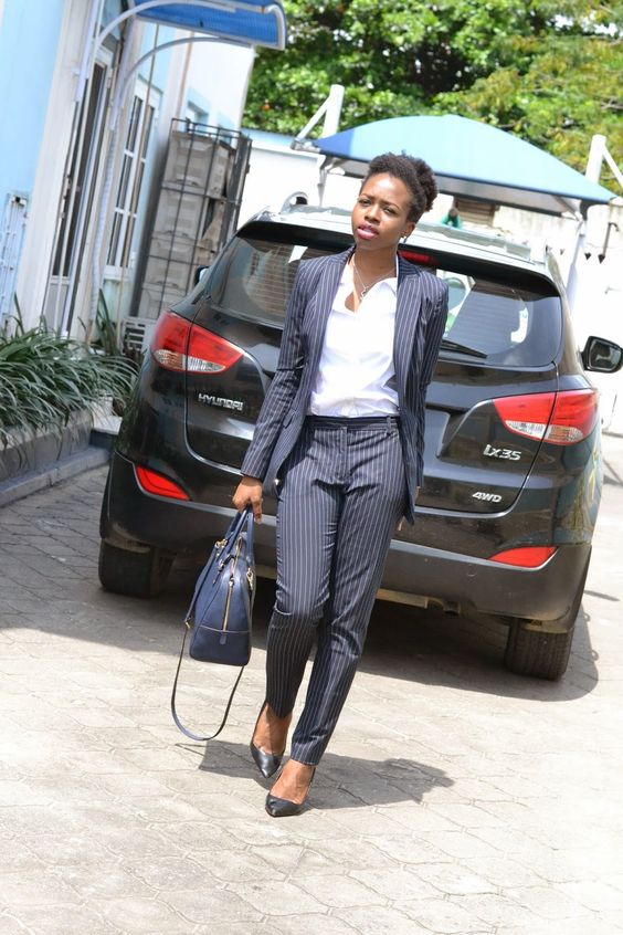Work style outfit in pinstripes.  Womens suit fashion.