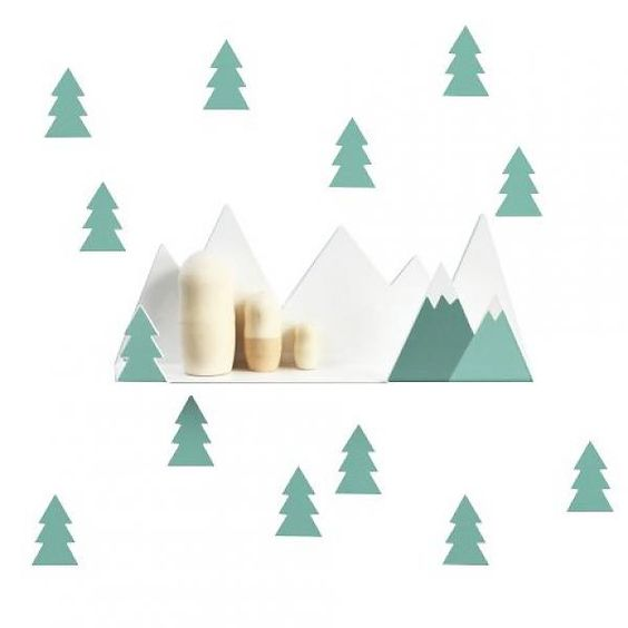berg plankje met muurstickers mint