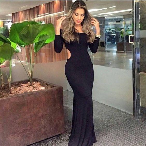 vestido-sereia-preto-mamngas-longas-ombros-de-fora-longo-malha-comprar