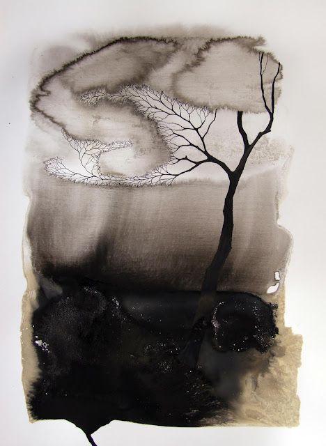 """Pablo S. Herrero. """"Imágenes de la sequía"""". Tinta china y barro blanco. 70x50cm."""