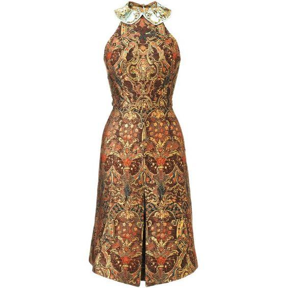 Vika Gazinskaya Bronze Fitted Brocade Dress ($1,050) ❤ liked on Polyvore featuring dresses, vestidos, gold, circle skirt, flared skirt, brown cocktail dress, halter-neck dress and zipper dress