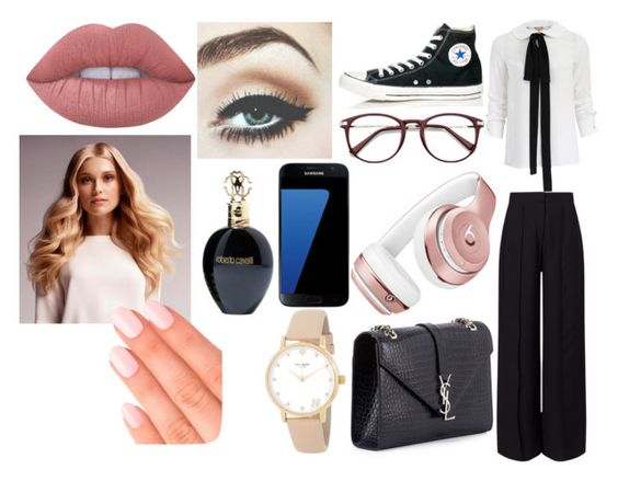 """""""Popular School Girl"""" by palvanimoturi ❤ liked on Polyvore featuring Michael Kors, Miss Selfridge, Converse, Yves Saint Laurent, Beats by Dr. Dre, Kate Spade, Samsung, Lime Crime, BaByliss and Roberto Cavalli"""