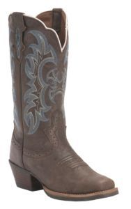 Justin Ladies Silver Collection Brown Kneaded Cow with Blue Detail Punchy Toe Western Boots | Cavender's