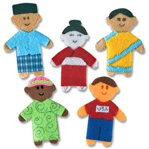 @WorldCrafts World Finger Puppet Set A- These finger puppets are created by local artisans in Indonesia and represent areas around the world.