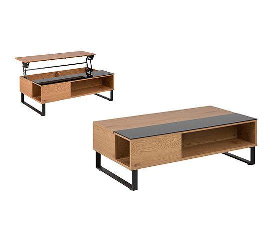 Table Basse Plateau Relevable Azalea Noir Et Imitation Chene Table Basse But Table Basse Table Basse Plateau Table Basse Relevable