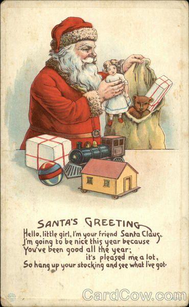 Santa's Greeting, Hello, Little Girl, I'm your Friend Santa Claus