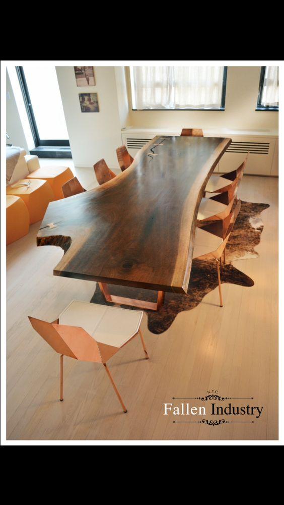Black walnut with copper base. #liveedge #fallentrees #nyc #woodlove #design #furniture #interiordesign #furnituredesign #reclaimedwood #natural #love #beautiful #wood #follow #photooftheday #art #home #decor #gorgeous #trees #nature #designer #architecture #newyork #want