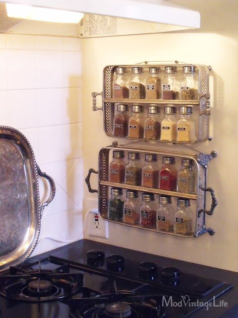 Spice racks from thrift store silver casserole servers diy