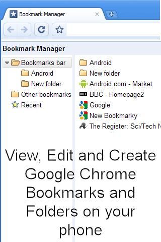 CMarks v2012.12.20 apk  Requirements: Android 2.1+  Overview: Bring Google Chrome™ Bookmarks to your device and create/edit/sync them.  Access the bookmarks from your Google Chrome™ browser.