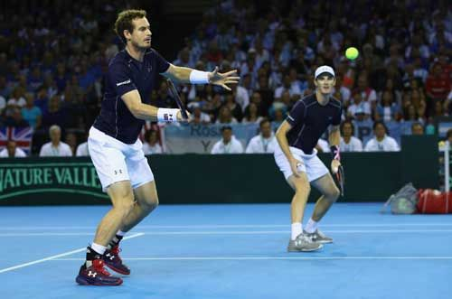 Andy and Jamie Murray during their doubles match in the Davis Cup World Group semi final tie between Great Britain and Argentina