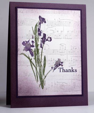 Neat watercolor effect with the irises, especially with the music score background.
