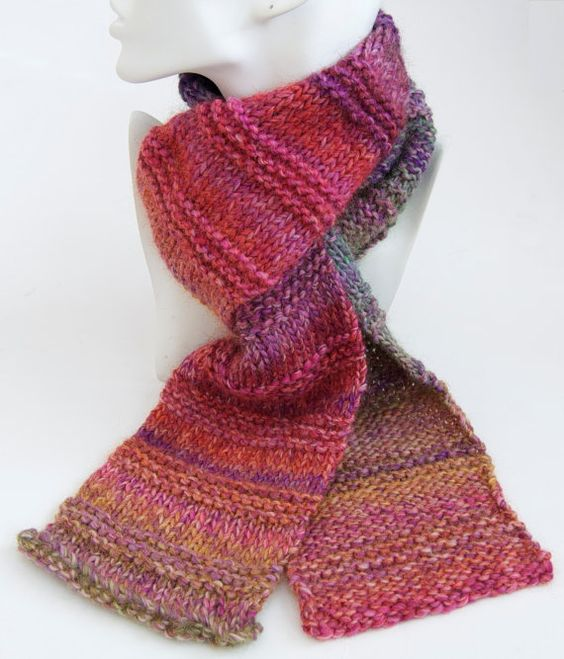 Rainbow Scarf - Knitted Ribbed Multicoloured Chunky Merino ...