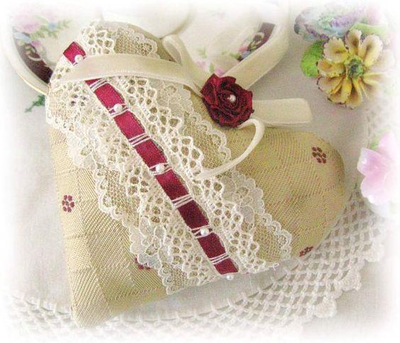 Sachet Heart, Heart Sachet, Golden Tan and Burgundy, Venise Lace Lavender Buds, Wedding Favor, Handmade CharlotteStyle Decorative Folk Art