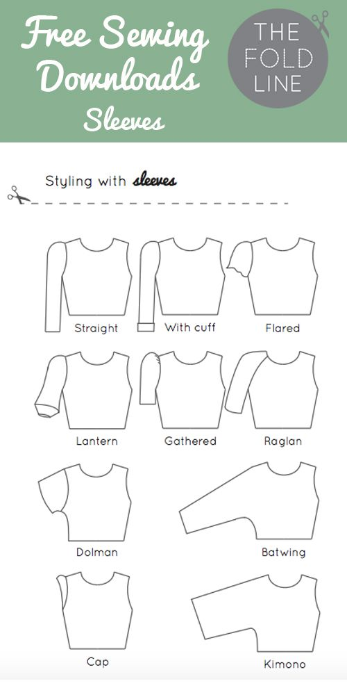 Free sewing download of all the sleeve names - perfect to help you with your next sewing or dressmaking project