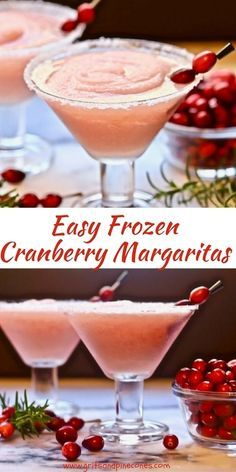 Easy Frozen Cranberry Margaritas are the perfect Christmas cocktail to kick off the holidays! They are festive and delicious and they are easy to make. #margaritas, #christmascocktails, #christmascocktailrecipes, #frozenmargaritas, #holidaycocktails, #easyChristmascocktails, #cranberryrecipes, #christmaspartyfood via @gritspinecones