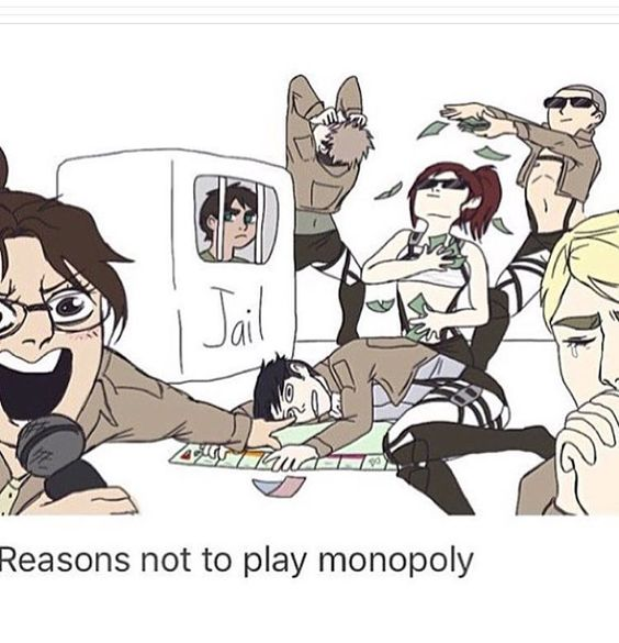 Hahah omg, Levi passed lays lifeless on the floor, Connie is shirtless - showering a shirtless Sasha (with a bra on) in money, Eren's in Jail, Erwins... praying? And Jeans freaking out. All while Hanji is narrating it.