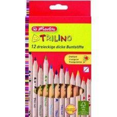 Herlitz Trilino 12 darabos, natúr, vastag háromszög alakú színes ceruza készlet…