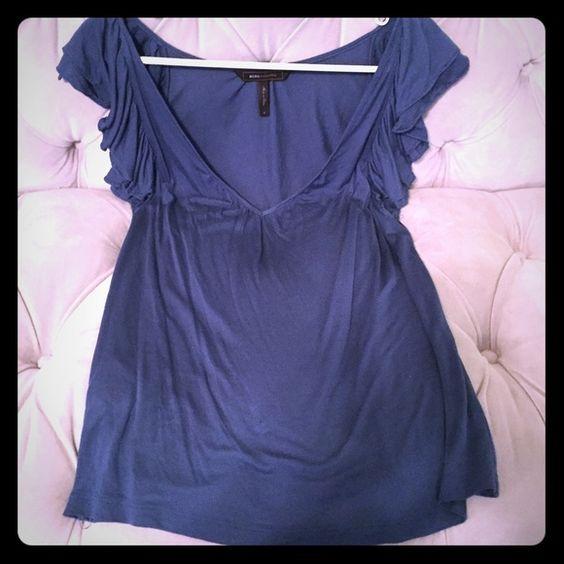 BCBG blue ruffle sleeve top Blue ruffle sleeve top, cotton, size S, from BCBGMaxAzria *Authentic!* BCBGMaxAzria Tops Blouses