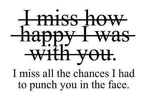 I miss all the chances I had to punch you in the face. ♡