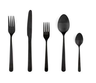 :: PRODUCTS :: :: PRODUCTS :: Price $51.00 per set. Adore black flatware. Almoco Flatware (5-Piece Setting) Available in matte black, silver or gold @DWR Almoco Flatware (2001) is the work of a third-generation, family-run business in Portugal. Their unexpected colors give this classic pattern a unique twist, while the silver finish evokes a timeless aesthetic. Crafted of durable stainless steel, the knives are type-420 stainless, and the forks and spoons are type 304. #products #flatware