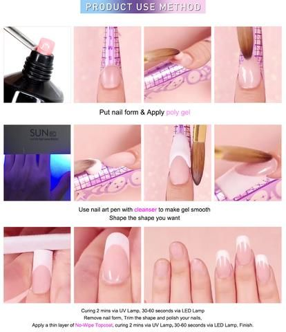 Now Available In An Exclusive Set All Tools Included The Polygel Set 4 Poly Gel 1 Applicator Too Diy Acrylic Nails Acrylic Nails At Home Gel Nail Tutorial