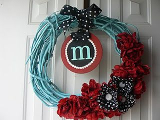 """Just spray a grapevine wreath with Krylon and add flowers....making one without the """"m""""!"""