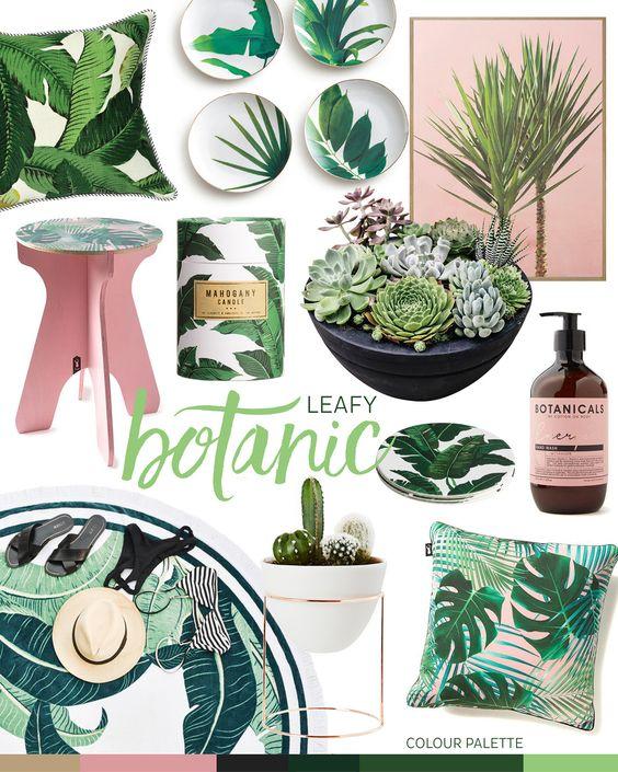 leafy botanic - green and blush pink