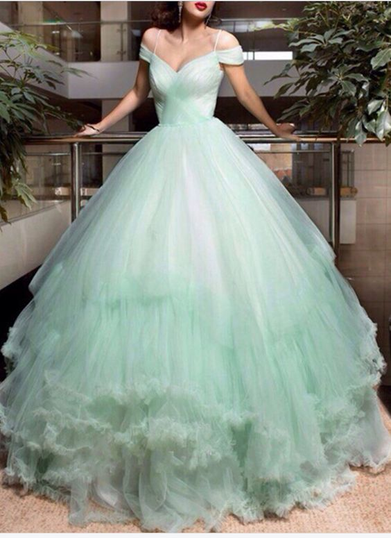 Wedding Dress,Mint Green Wedding Dr: